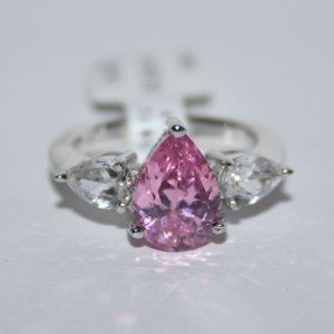 NWT Sterling silver pink and CZ ring size 5